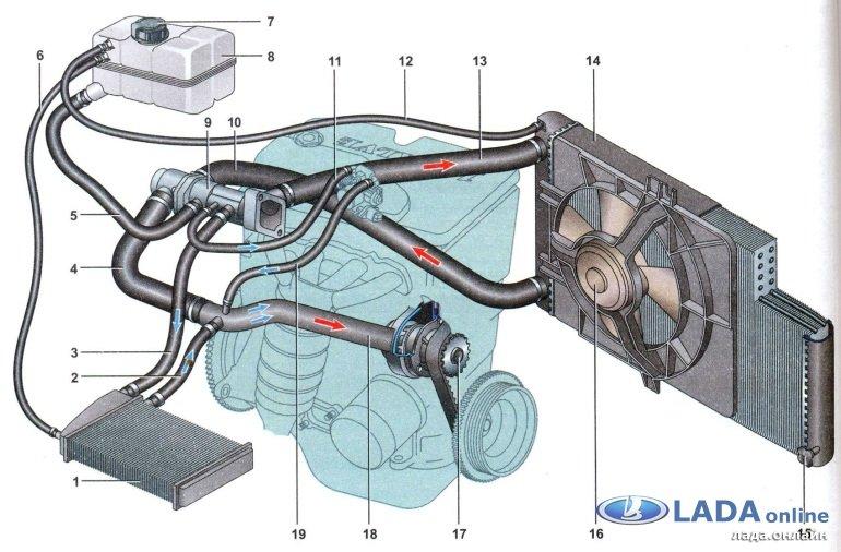 Система охлаждения двигателя ланос 1.5 схема фото 947