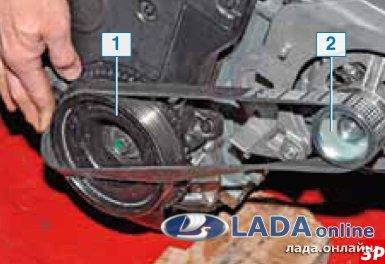 надеть ремень генератора лада гранта/калина 2 на шкив