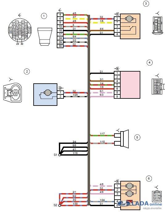 Электросхема стеклоподъемников Лада Калина 2 левой двери