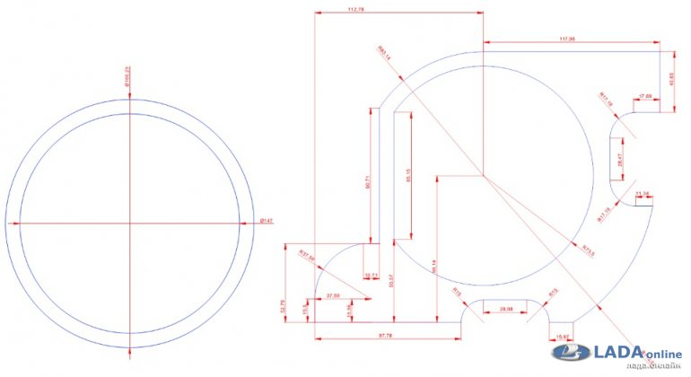 размер, чертеж проставок под динамики 16 см Лада Приора