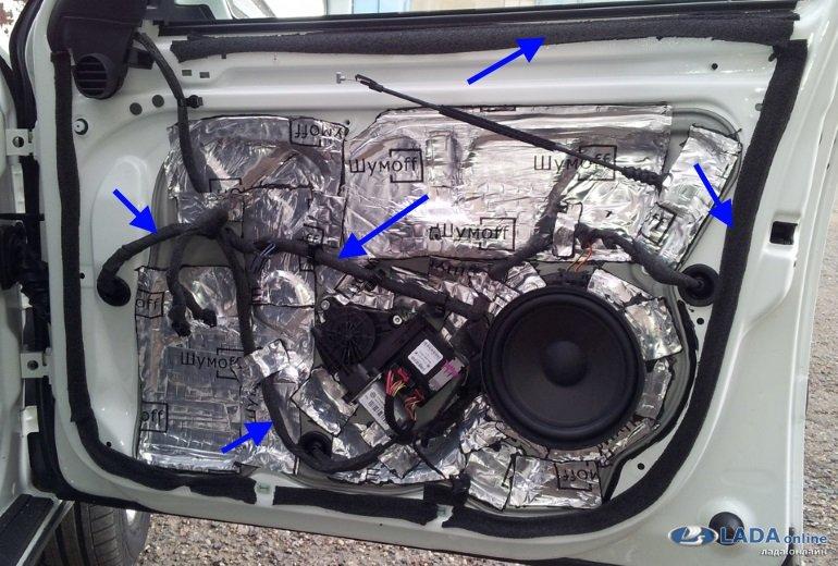 провода и двери автомобиля в антискрипе