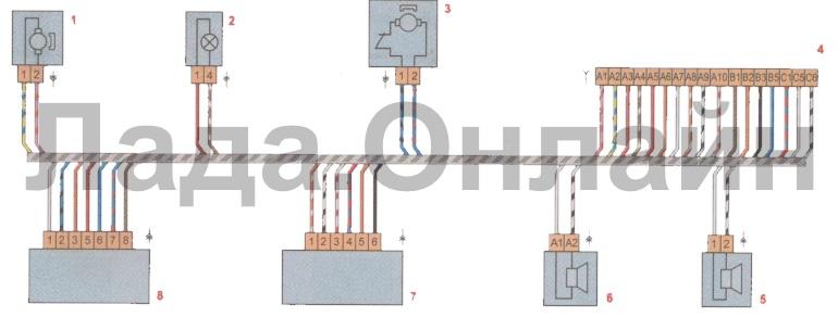 Схема соединений жгута проводов передней правой двери лада веста