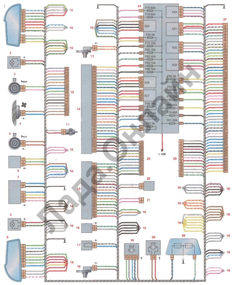 Схема соединений переднего жгута проводов лада веста