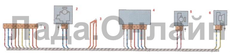 Схема соединений жгута проводов задней двери лада веста