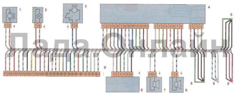 Схема соединений жгута проводов передней левой двери лада веста