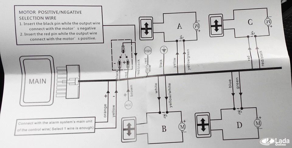Схема подключения доводчика стекол 634