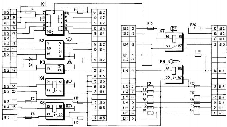 Схема соединений монтажного блока Lada Niva (Chevrolet)